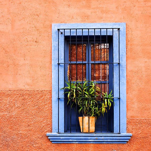 Window In San Miguel De Allende Mexico Square Print by Carol Leigh