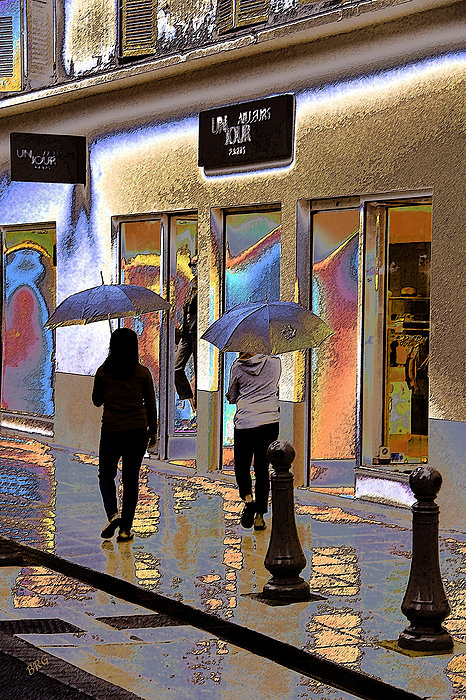 Window Shopping In The Rain Print by Ben and Raisa Gertsberg