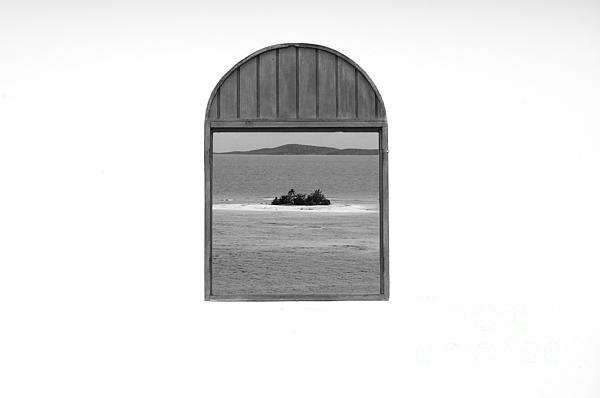 Window View Of Desert Island Puerto Rico Prints Black And White Print by Shawn O'Brien