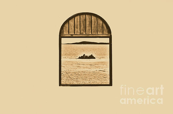 Window View Of Desert Island Puerto Rico Prints Rustic Print by Shawn O'Brien