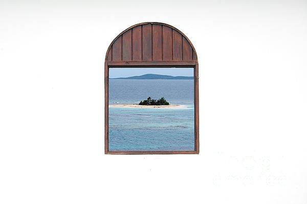 Window View Of Desert Island Puerto Rico Prints Print by Shawn O'Brien