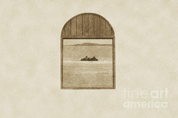 Window View Of Desert Island Puerto Rico Prints Vintage Print by Shawn OBrien