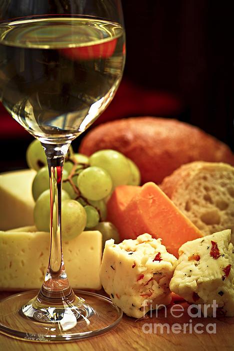 Wine And Cheese Print by Elena Elisseeva