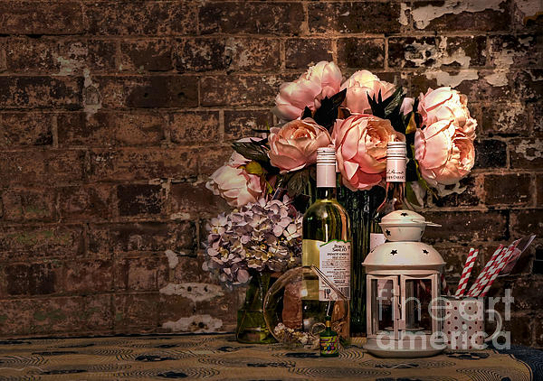 Wine And Roses Print by Kaye Menner