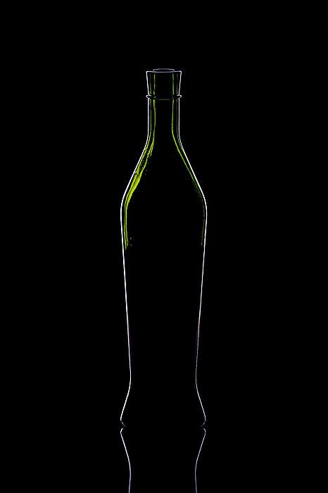 Wine Bottle Silhouette Print by Alex Sukonkin