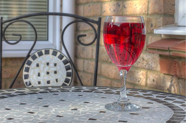 Wine Glass On Table Al Fresco Print by Fizzy Image