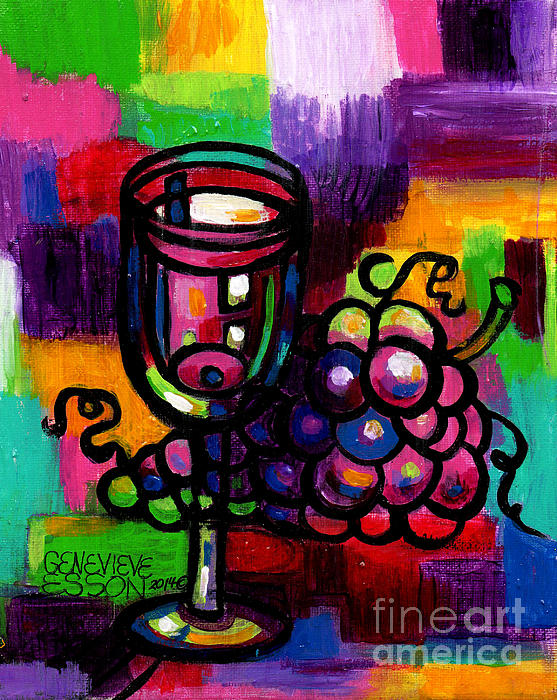 Wine glass with grapes abstract by genevieve esson for Wine and paint st louis