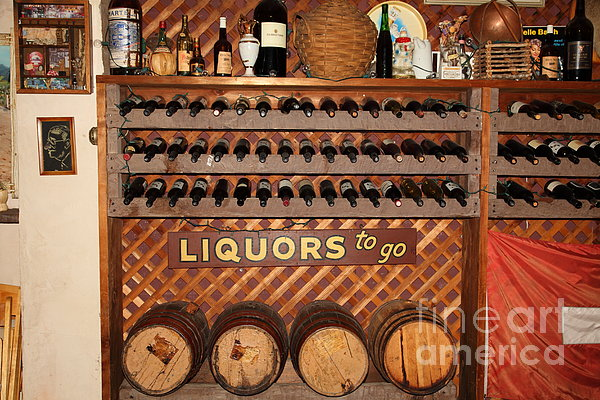Wine Rack In The Cellar Room At The Swiss Hotel In Sonoma California 5d24451 Print by Wingsdomain Art and Photography