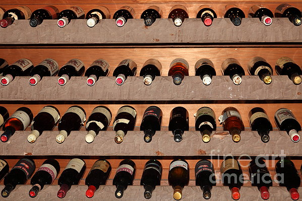 Wine Rack In The Private Dining Room At The Swiss Hotel In Sonoma California 5d24462 Print by Wingsdomain Art and Photography