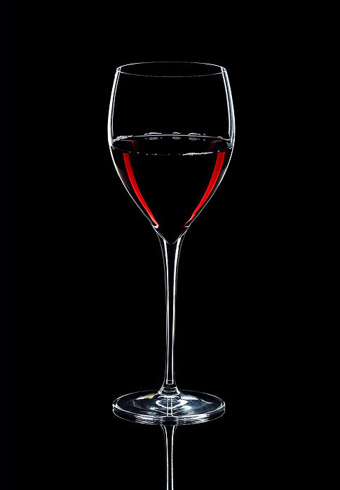 Wineglass Filled With Red Wine Silhouette Print by Alex Sukonkin