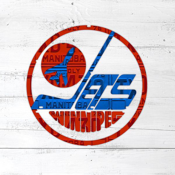 Winnipeg Jets Retro Hockey Team Logo Recycled Manitoba Canada License ...