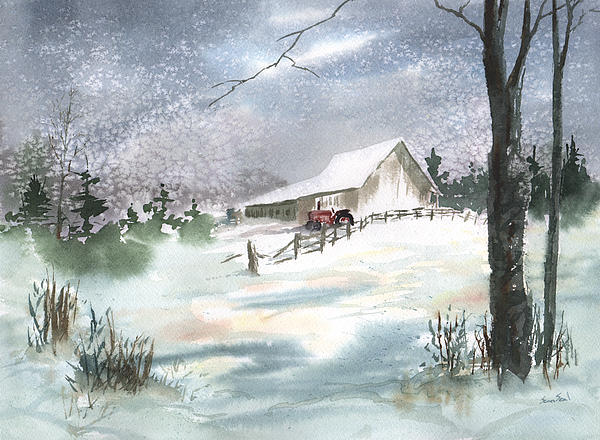 Winter Barn And Tractor Print by Sean Seal
