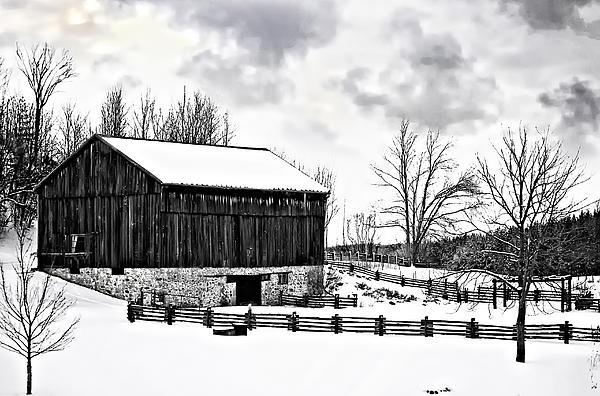Winter Barn Print by Steve Harrington