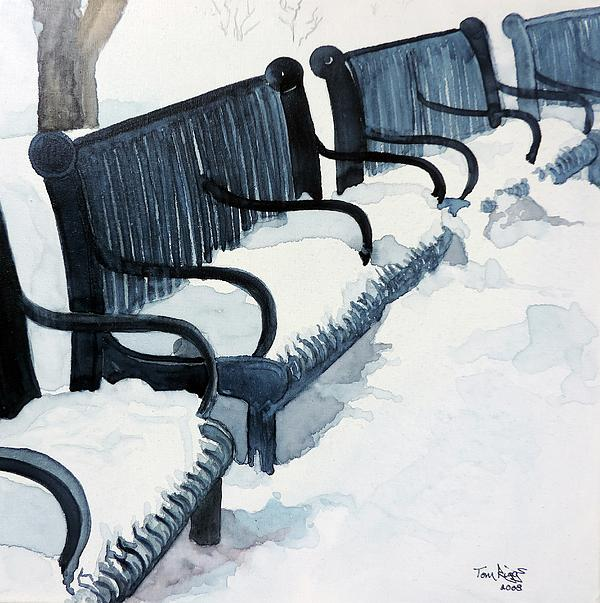 Winter Benches Print by Tom Riggs