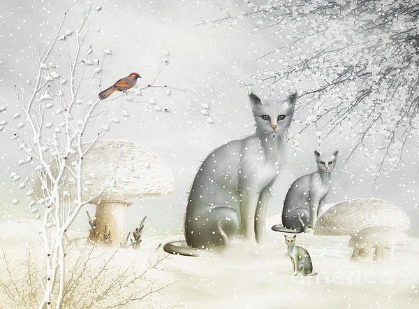 Winter Cats Print by Elaine Manley