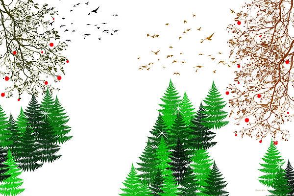 Winter Christmas Four Seasons Art Series Print by Christina Rollo