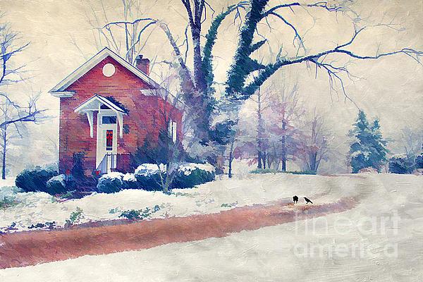 Winter Cottage Print by Darren Fisher
