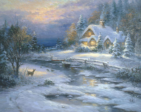 Winter Cottage Print by Ghambaro