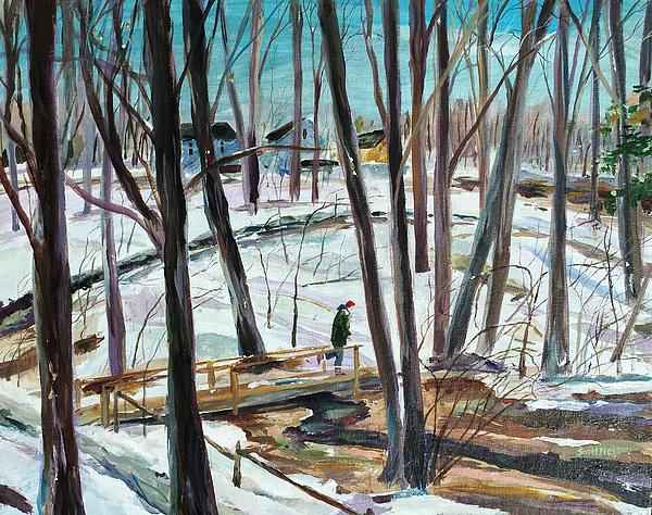 Winter Footbridge Print by Scott Nelson