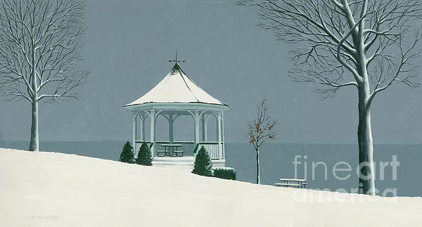 Winter Gazebo Print by Michael Swanson