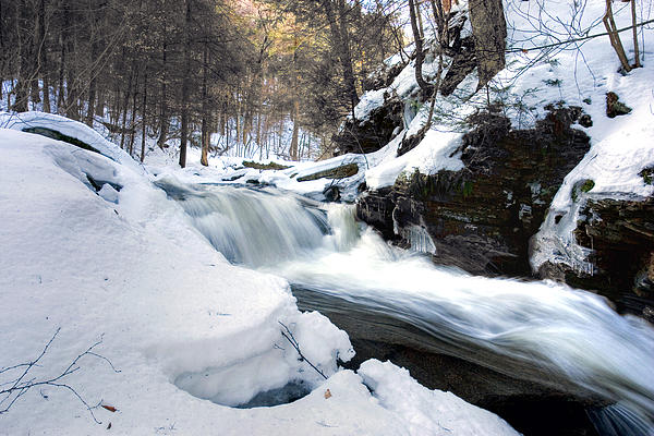 Winter Meltdown Rushing Over Conestoga Falls Print by Gene Walls