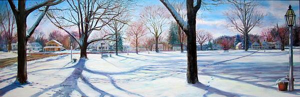 Winter On Sturbridge Common Print by Linda Spencer