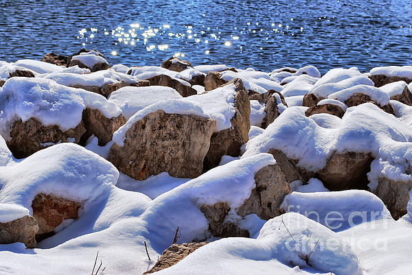 Winter On The Rocks Print by Shutter Happens Photography