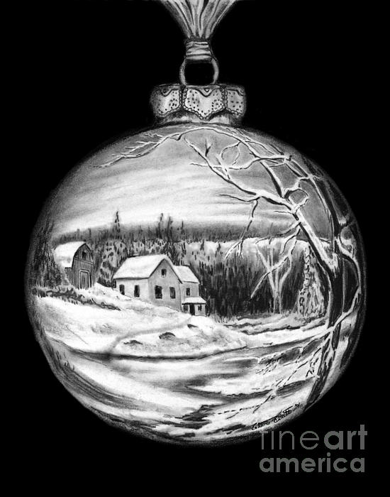Winter Scene Ornament Drawing