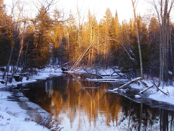 Winter Stream In The Up Print by Feva  Fotos