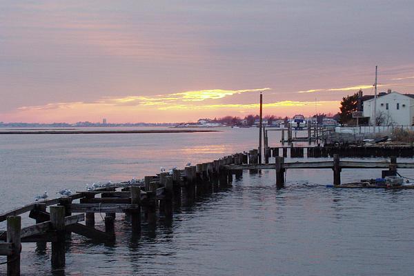 Winter Sunset Freeport Print by John Telfer