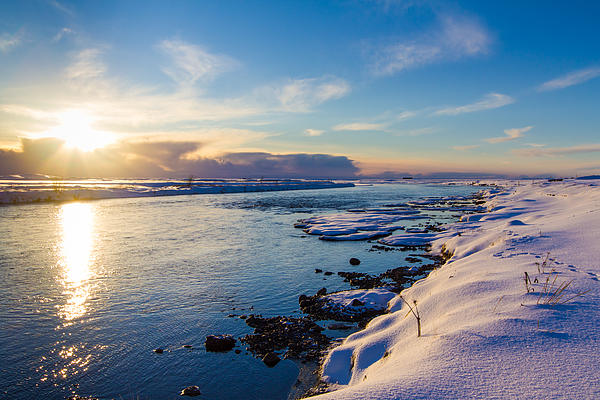 Winter Sunset In Iceland Print by Peta Thames