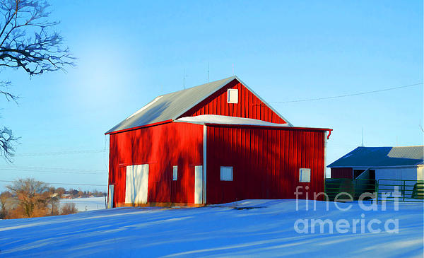 Winter Time Barn In Snow Print by Luther   Fine Art