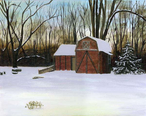 Winter Twilight On Thirkield Barn Print by Cecilia  Brendel