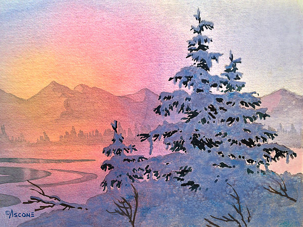 Winter Twilight Print by Teresa Ascone