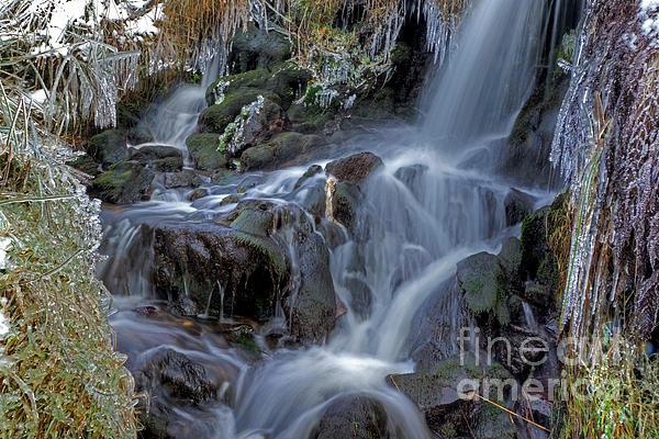 Winter Waterfall In Goyt Valley Print by David Birchall