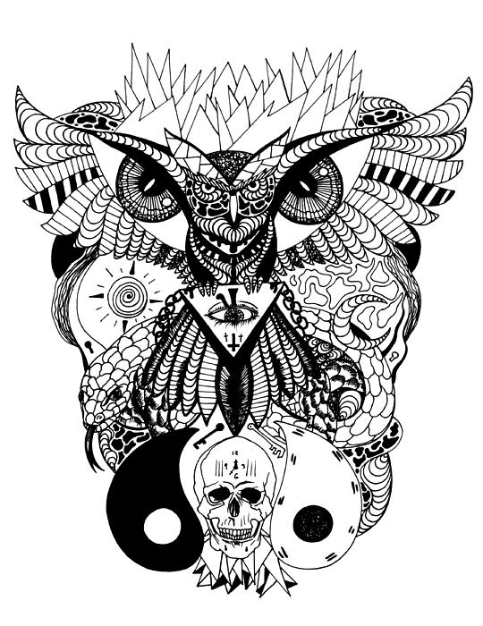 Wise owl and the ageless skull by kenal louis for Ageless arts tattoo