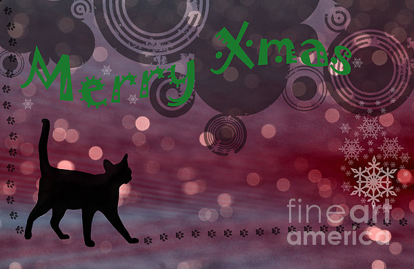 Wishing You All A Purrfect Xmas... Print by Nina Stavlund