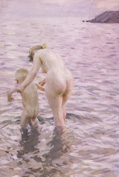 With Mother Print by Anders Leonard Zorn