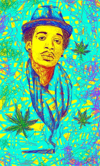 Wiz Khalifa Drawing In Line Print by Kenal Louis