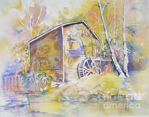 Wolf Creek Grist Mill Print by Mary Haley-Rocks