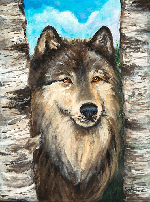 Nadine Johnston - Wolf in the Aspens OriginalPainting ForSale