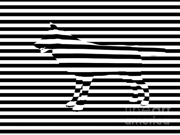 Wolf Optical Illusion Print by Pixel  Chimp