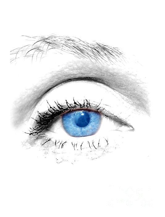Woman Blue Eye Print by Michal Bednarek