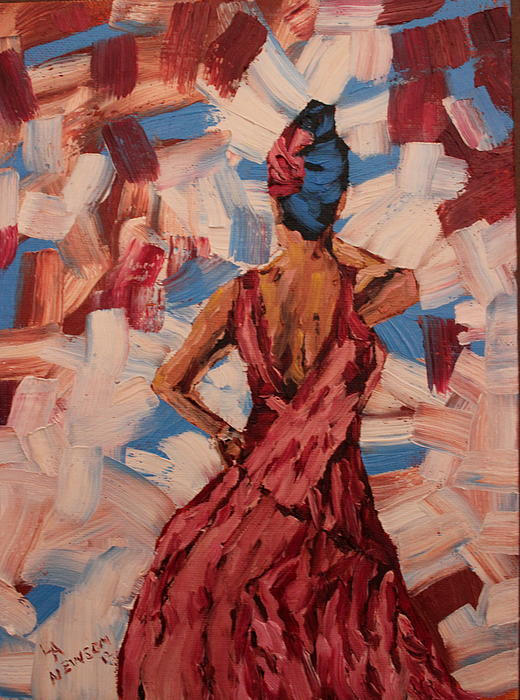 Woman In The Red Gown Print by Lee Ann Newsom
