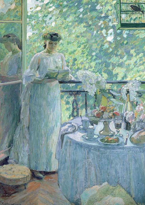 Woman On A Balcony Print by Henri Ottmann