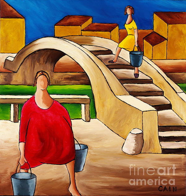 Woman On Bridge Print by William Cain