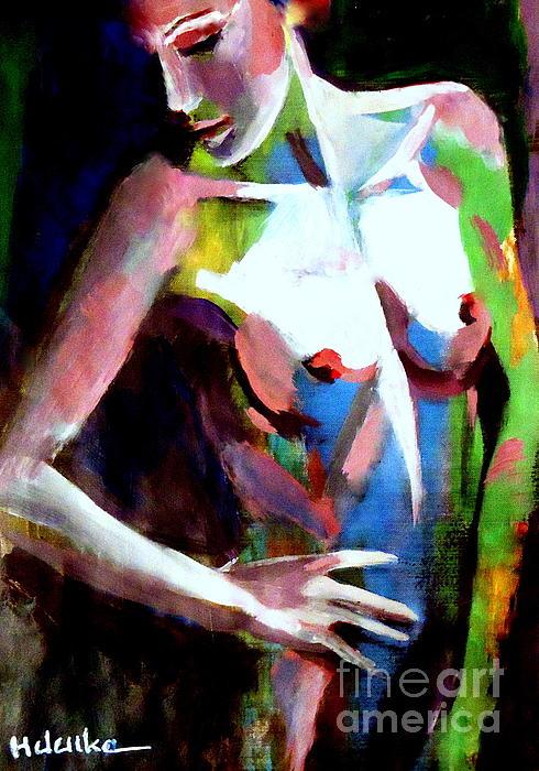 Woman On Dark Print by Helena Wierzbicki
