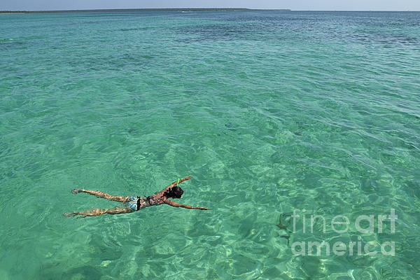 Woman Snorkeling By Turquoise Sea Print by Sami Sarkis
