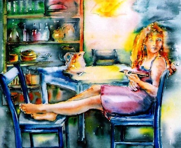 Woman Waiting No 2 Print by Trudi Doyle
