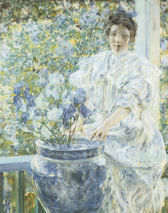Woman With A Vase Of Irises Print by Robert Reid